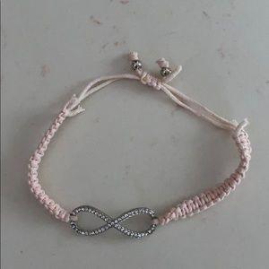 Light pink silver infinity adjustable bracelet
